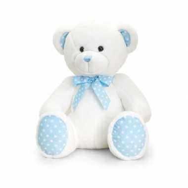 Goedkope keel toys pluche baby boy beer knuffel wit blauw