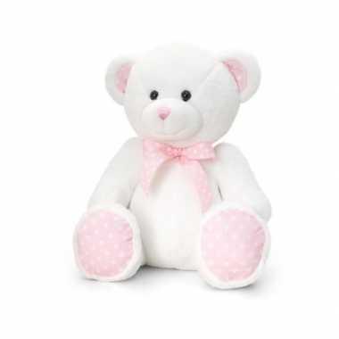Goedkope keel toys pluche baby girl beer knuffel wit roze