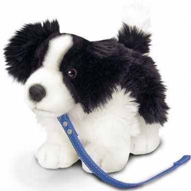 Goedkope keel toys pluche border collie honden knuffel riem