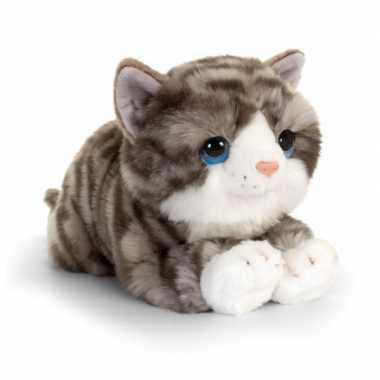 Goedkope keel toys pluche grijs/witte kat/poes knuffel