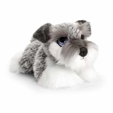 Goedkope keel toys pluche grijs/witte schnauzer honden knuffel