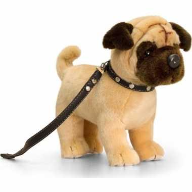 Goedkope keel toys pluche mopshond honden knuffel riem