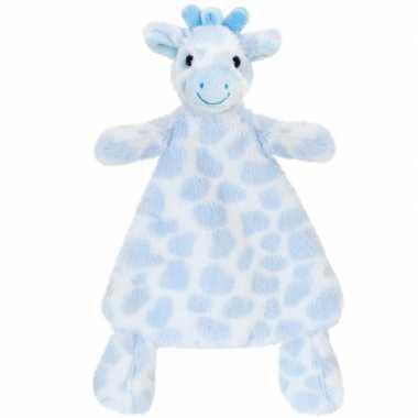 Goedkope keel toys pluche tuttel blauwe giraffe knuffeldoekje