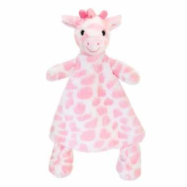 Goedkope keel toys pluche tuttel roze giraffe knuffeldoekje