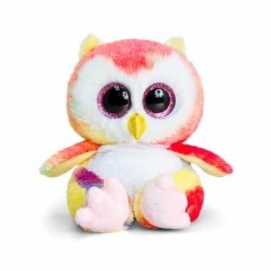Goedkope keel toys pluche uil knuffel roze/geel/wit