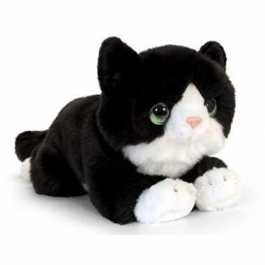 Goedkope keel toys pluche zwart/witte kat/poes knuffel