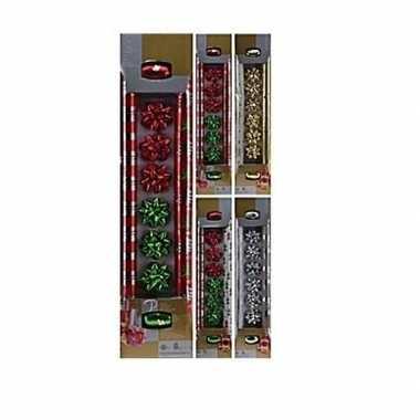 Goedkope kerst cadeau inpakken set rood/groen