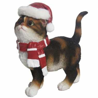 Goedkope kerst decoratie beeldje bruine bonte kat/poes