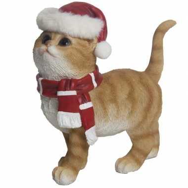 Goedkope kerst decoratie beeldje rode kat/poes