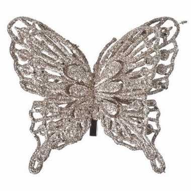 Goedkope kerst decoratie vlinder champagne