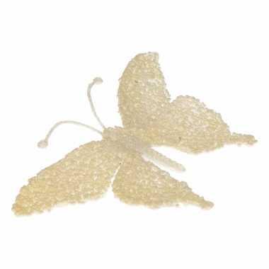 Goedkope kerst decoratie vlinder creme glitter