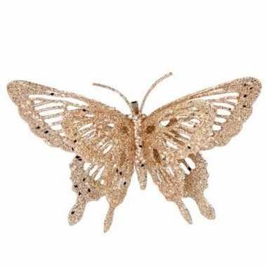 Goedkope kerst decoratie vlinder goud