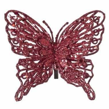 Goedkope kerst decoratie vlinder rood