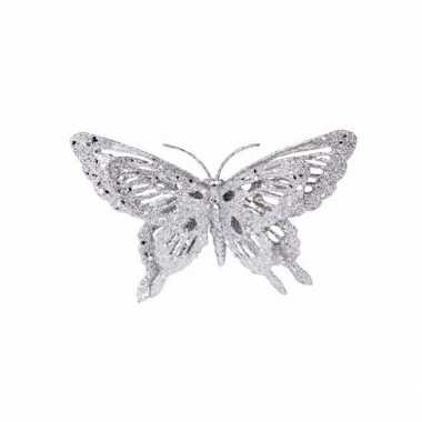 Goedkope kerst decoratie vlinder zilver