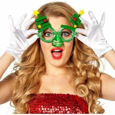 Goedkope kerst feest/verkleed bril groen kerstbomen volwassenen