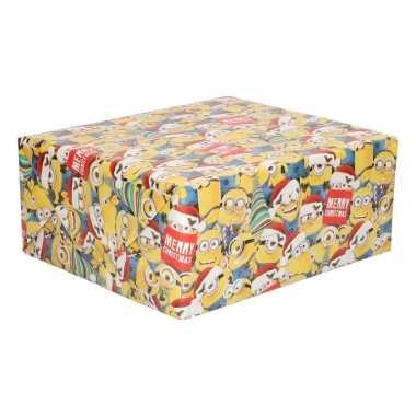 Goedkope kerst inpakpapier minions geel rol