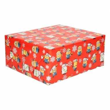 Goedkope kerst inpakpapier minions rood rol