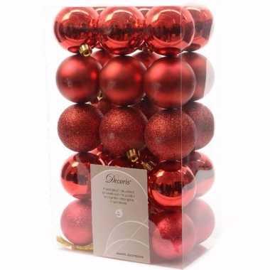 Goedkope kerst kerstballen rood mix elegant christmas stuks
