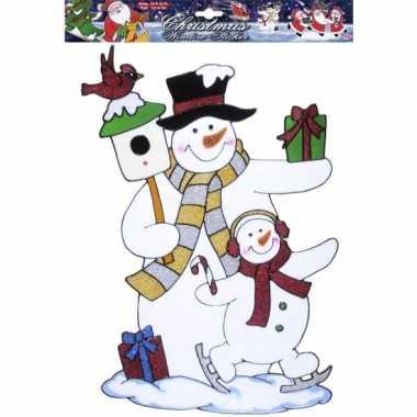 Goedkope kerst raamsticker sneeuwpop