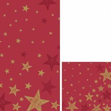 Goedkope kerst tafeldecoratie set rood/goud sterren tafelkleed/servet