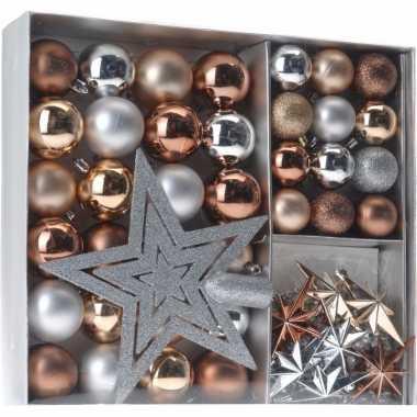 Goedkope kerstboom decoratie set brons/zilver/goud
