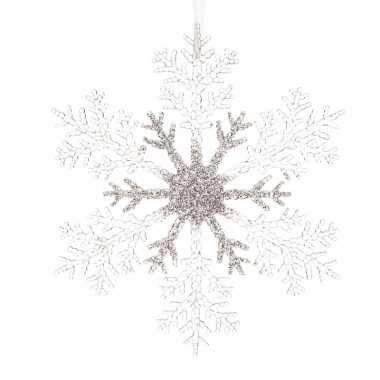 Goedkope kerstboom decoratie sneeuwvlok hanger transparant zilver