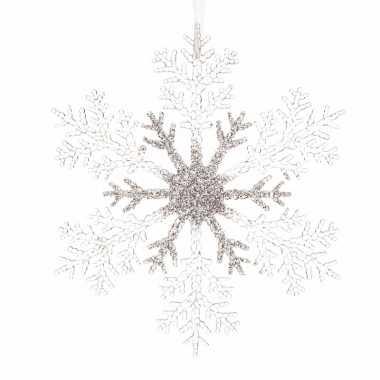 Goedkope kerstboom decoratie sneeuwvlok transparant/zilver