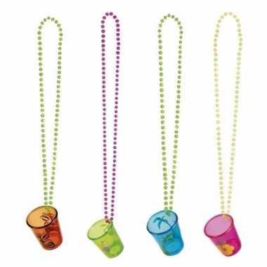Goedkope kettingen shotglazen gekleurd stuks