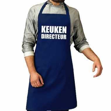Goedkope keuken directeur barbeque schort / keukenschort kobalt blauw