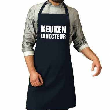 Goedkope keuken directeur barbeque schort / keukenschort navy heren