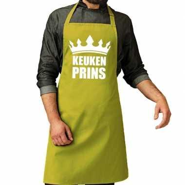 Goedkope keuken prins barbeque schort / keukenschort lime groen heren