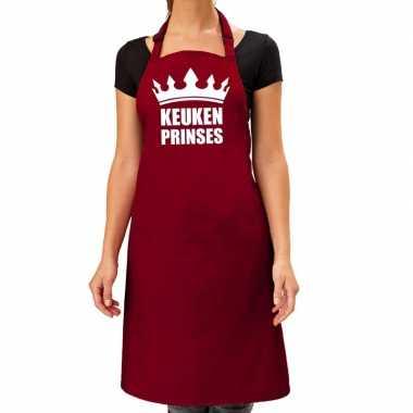 Goedkope keuken prinses barbeque schort / keukenschort bordeaux dames