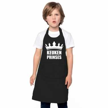 Goedkope keukenprinses keukenschort zwart meisjes