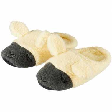 Goedkope kinder dieren pantoffels/sloffen lama/alpaca beige slippers