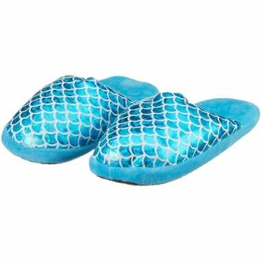 Goedkope kinder pantoffels/sloffen zeemeermin blauw slippers
