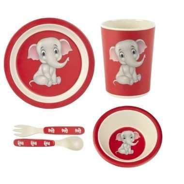 Goedkope kinderservies olifant bamboe set