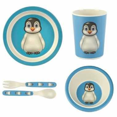 Goedkope kinderservies pinguin bamboe set