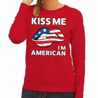 Goedkope kiss me i am american sweater rood dames