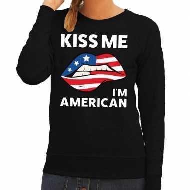 Goedkope kiss me i am american sweater zwart dames