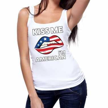 Goedkope kiss me i am american tanktop / mouwloos shirt wit dames