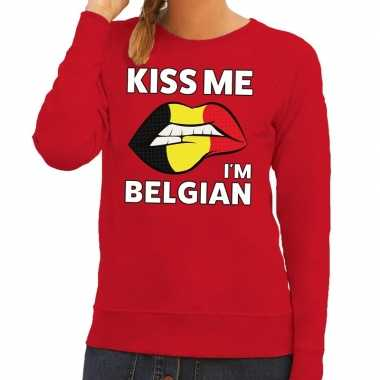 Goedkope kiss me i am belgian sweater rood dames
