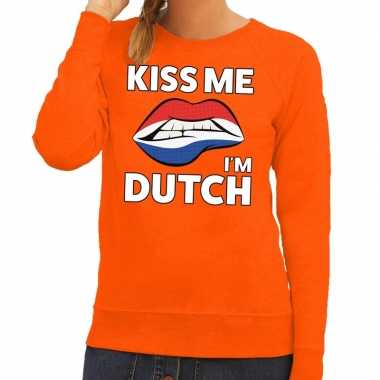 Goedkope kiss me i am dutch sweater oranje dames
