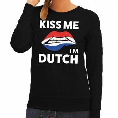 Goedkope kiss me i am dutch sweater zwart dames