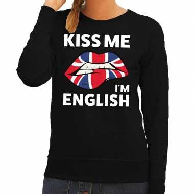 Goedkope kiss me i am english sweater zwart dames