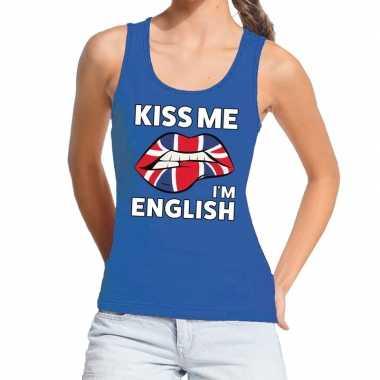 Goedkope kiss me i am english tanktop / mouwloos shirt blauw dames