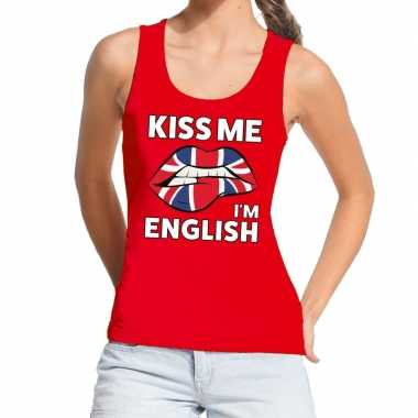 Goedkope kiss me i am english tanktop / mouwloos shirt rood dames