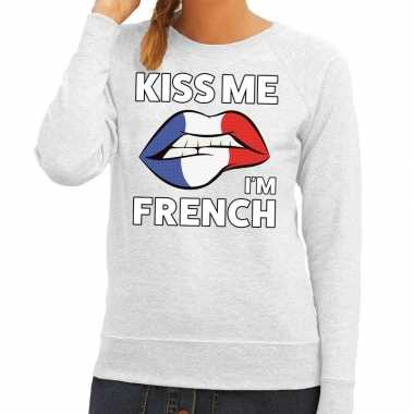 Goedkope kiss me i am french sweater grijs dames