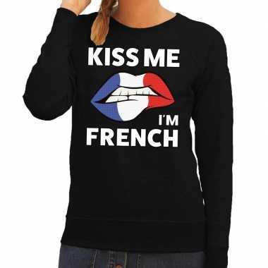Goedkope kiss me i am french sweater zwart dames