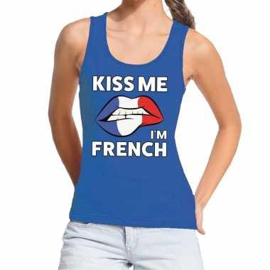 Goedkope kiss me i am french tanktop / mouwloos shirt blauw dames