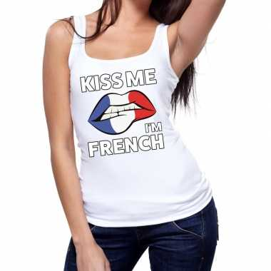 Goedkope kiss me i am french tanktop / mouwloos shirt wit dames
